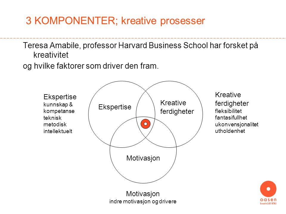 3 KOMPONENTER; kreative prosesser