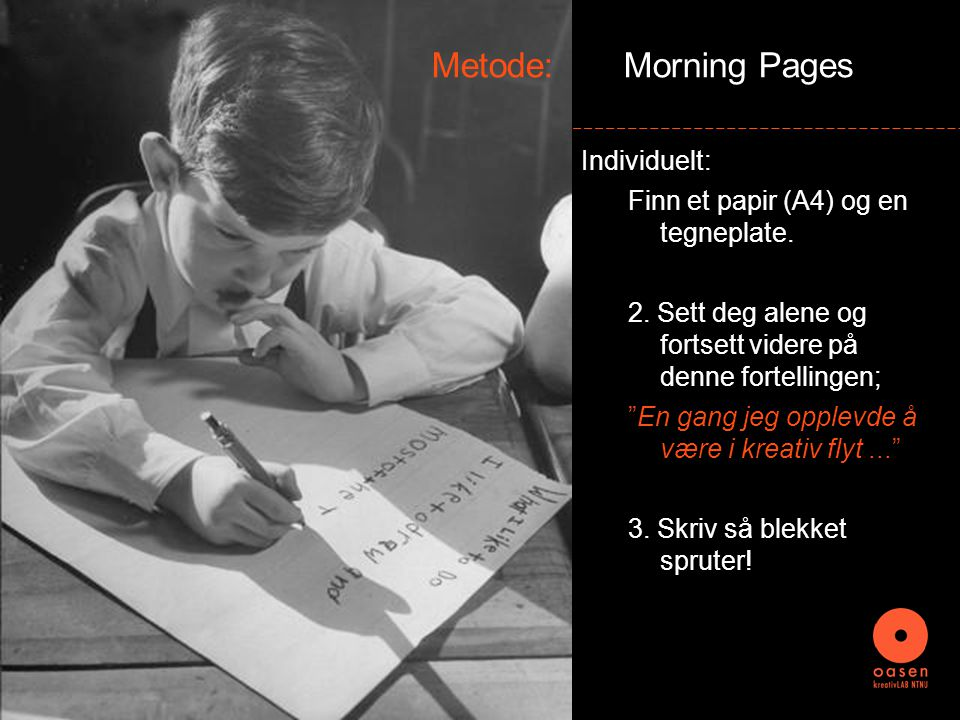 Metode: Morning Pages Individuelt: