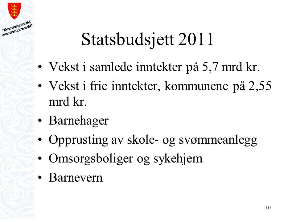 Statsbudsjett 2011 Vekst i samlede inntekter på 5,7 mrd kr.
