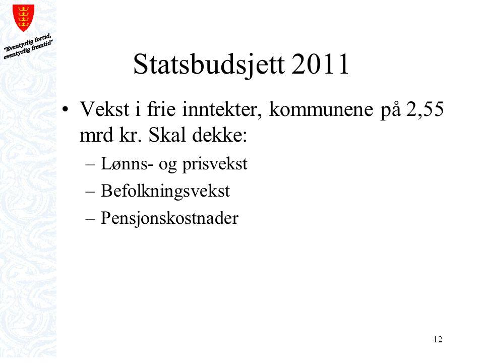 Eventyrlig fortid, eventyrlig fremtid Statsbudsjett 2011. Vekst i frie inntekter, kommunene på 2,55 mrd kr. Skal dekke: