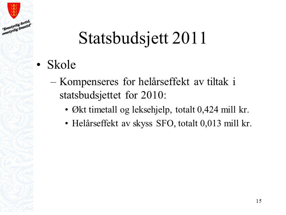 Eventyrlig fortid, eventyrlig fremtid Statsbudsjett 2011. Skole. Kompenseres for helårseffekt av tiltak i statsbudsjettet for 2010:
