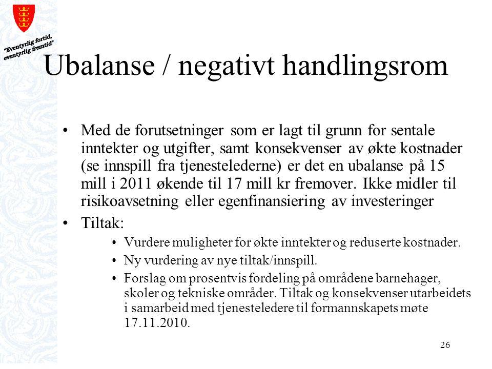 Ubalanse / negativt handlingsrom