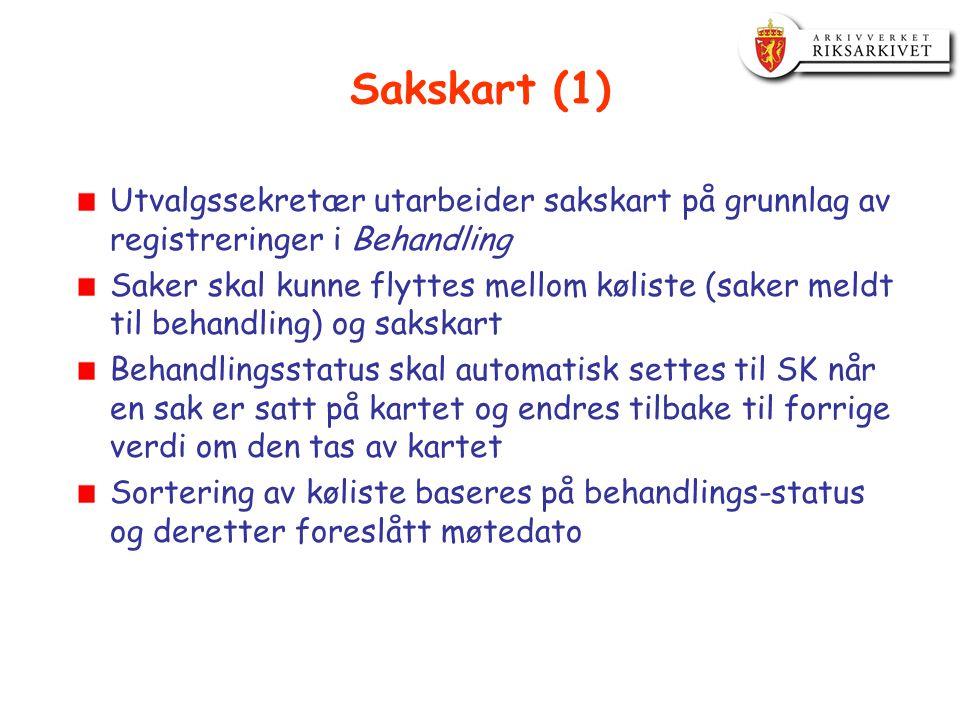 Sakskart (1) Utvalgssekretær utarbeider sakskart på grunnlag av registreringer i Behandling.