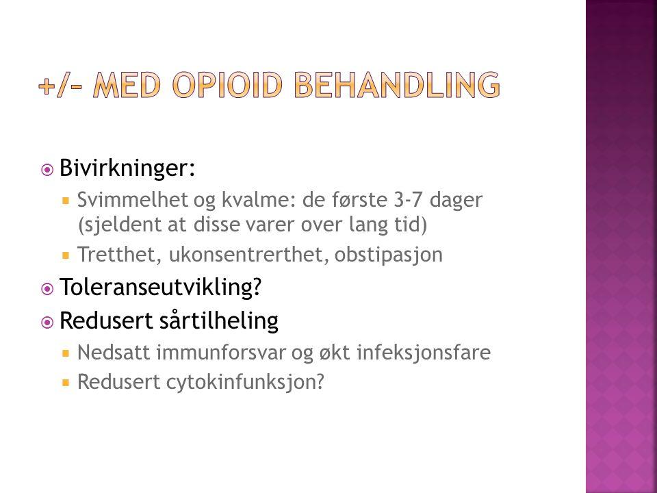 +/– med opioid behandling