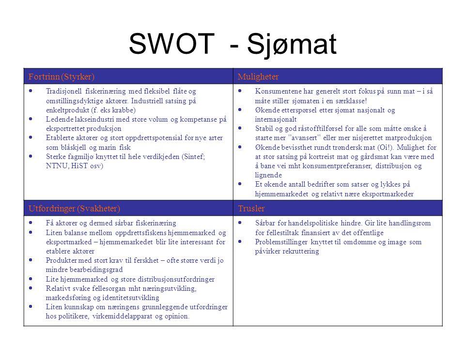 SWOT - Sjømat Fortrinn (Styrker) Muligheter Utfordringer (Svakheter)