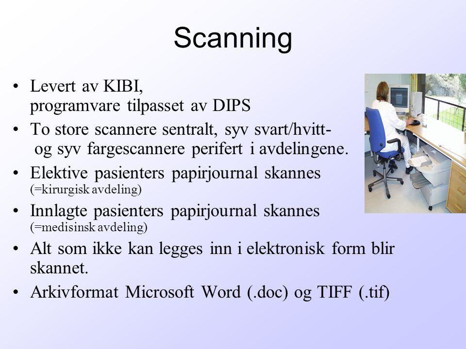 Scanning Levert av KIBI, programvare tilpasset av DIPS