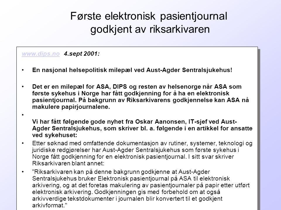 Første elektronisk pasientjournal godkjent av riksarkivaren