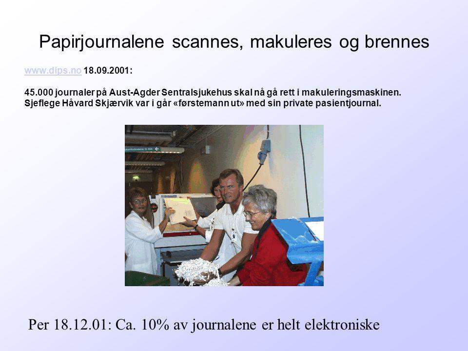 Papirjournalene scannes, makuleres og brennes