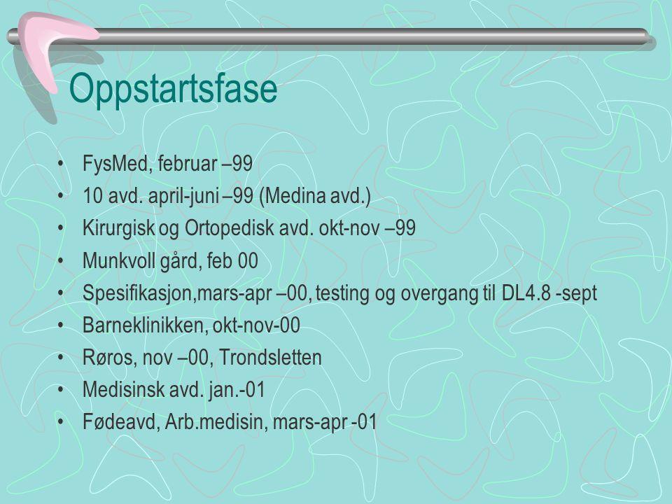 Oppstartsfase FysMed, februar –99 10 avd. april-juni –99 (Medina avd.)