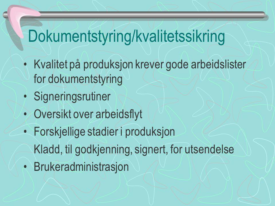 Dokumentstyring/kvalitetssikring