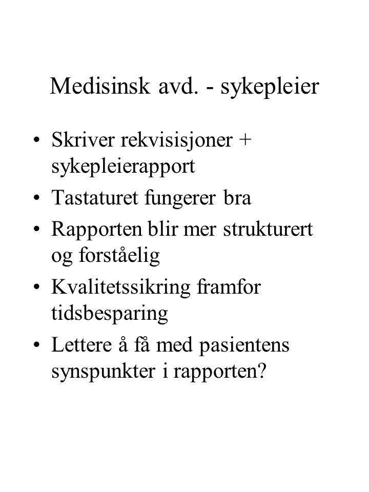 Medisinsk avd. - sykepleier