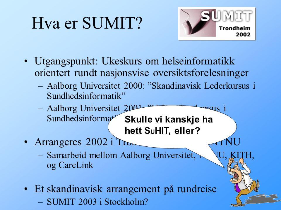 Hva er SUMIT Utgangspunkt: Ukeskurs om helseinformatikk orientert rundt nasjonsvise oversiktsforelesninger.