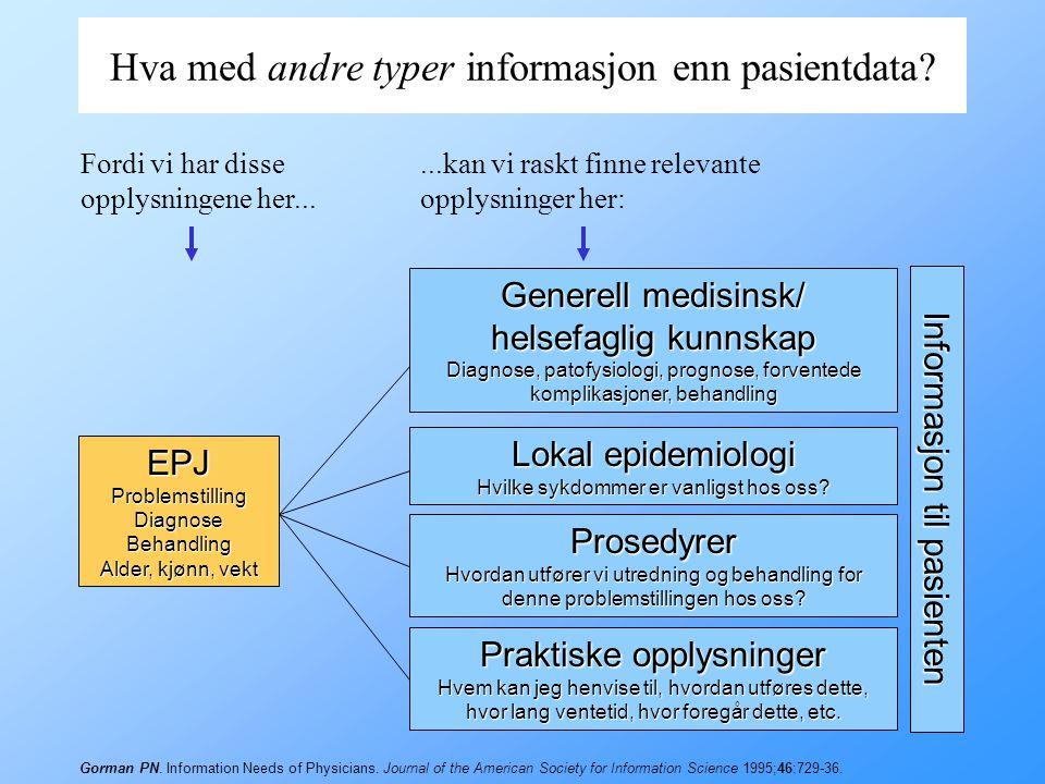 Hva med andre typer informasjon enn pasientdata