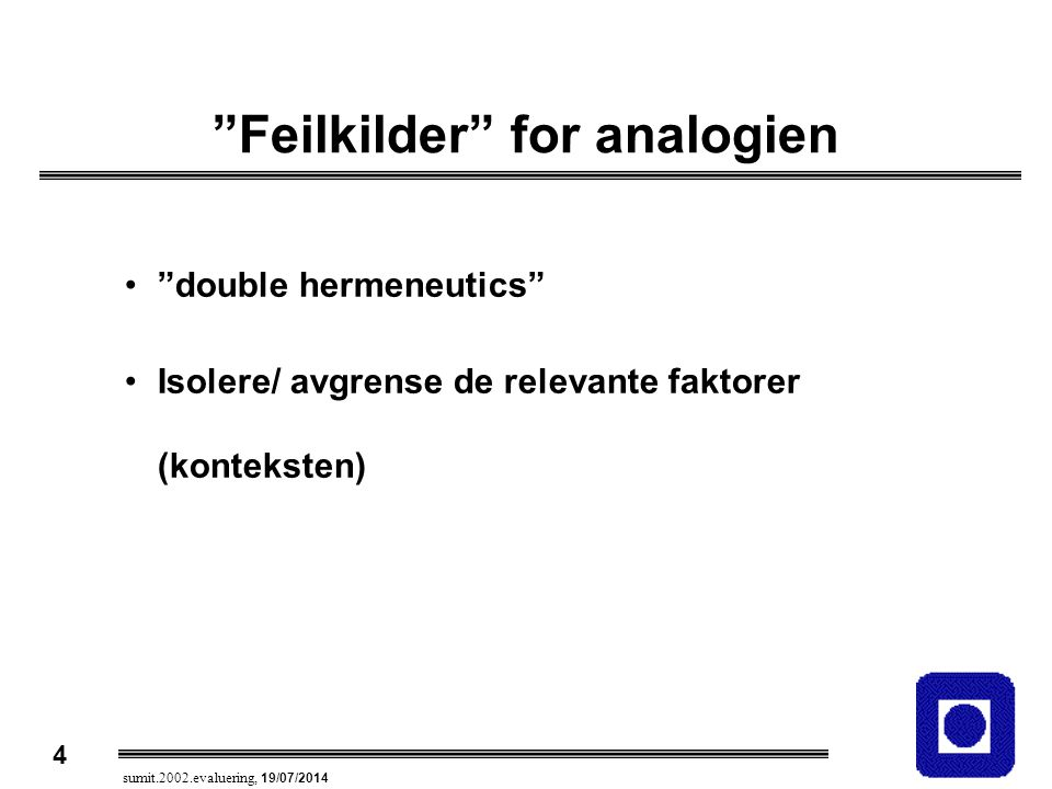 Feilkilder for analogien