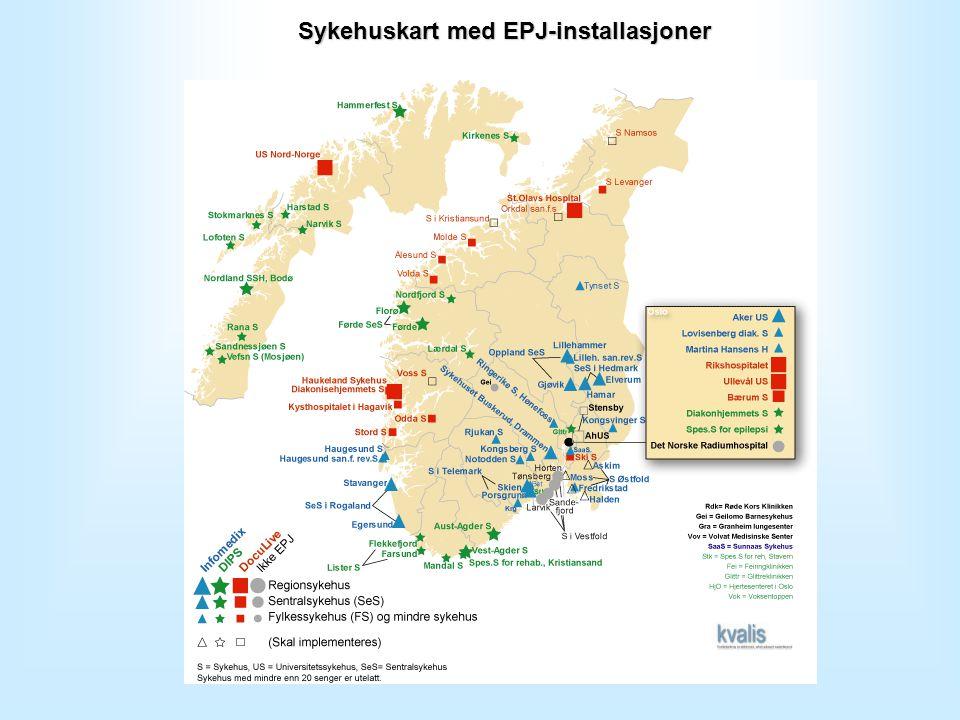 Sykehuskart med EPJ-installasjoner