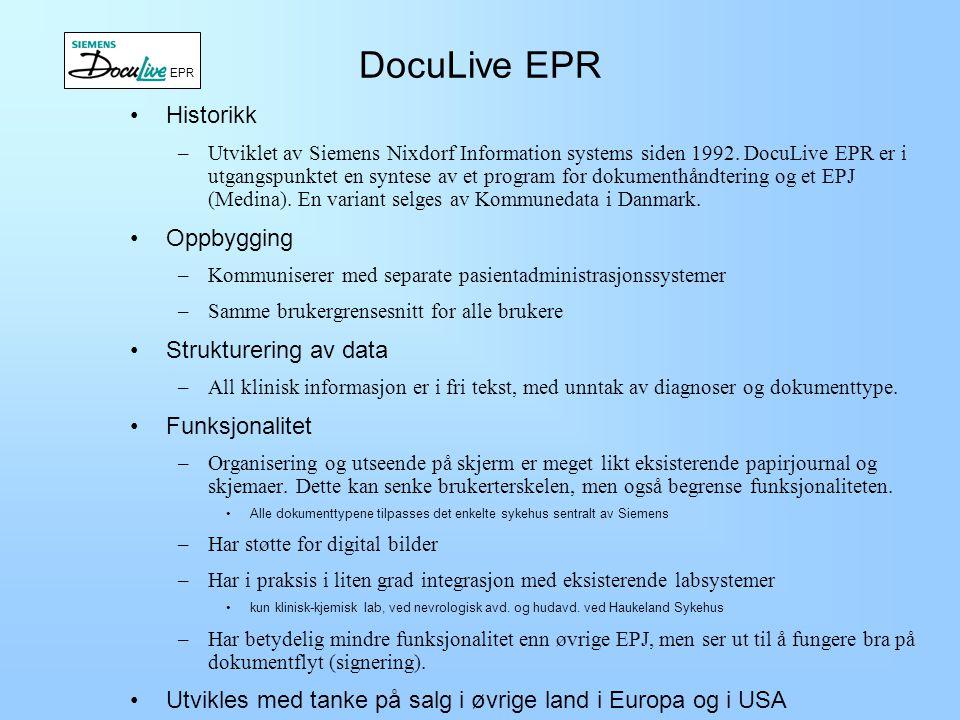DocuLive EPR Historikk Oppbygging Strukturering av data Funksjonalitet