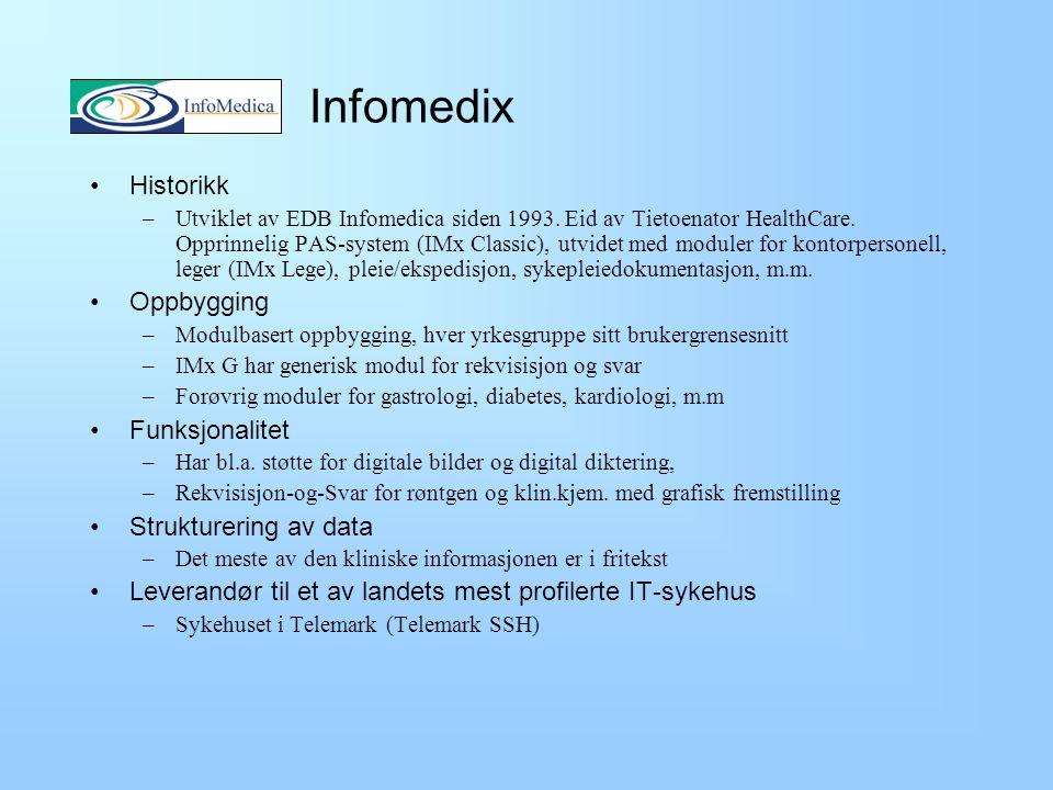 Infomedix Historikk Oppbygging Funksjonalitet Strukturering av data