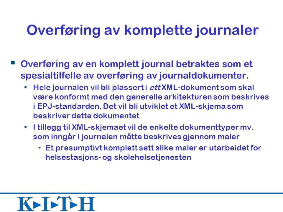 Overføring av komplette journaler