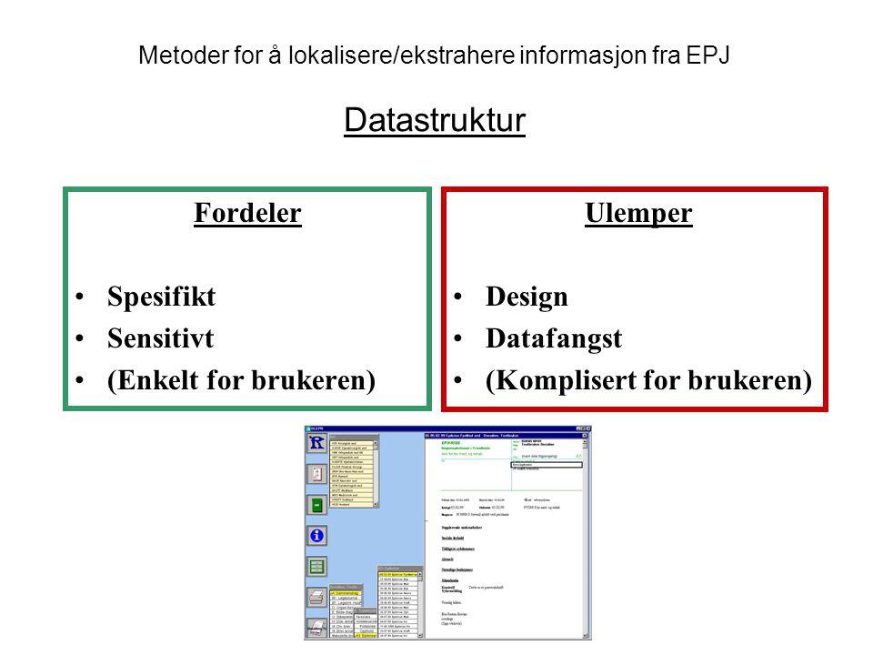 Metoder for å lokalisere/ekstrahere informasjon fra EPJ Datastruktur