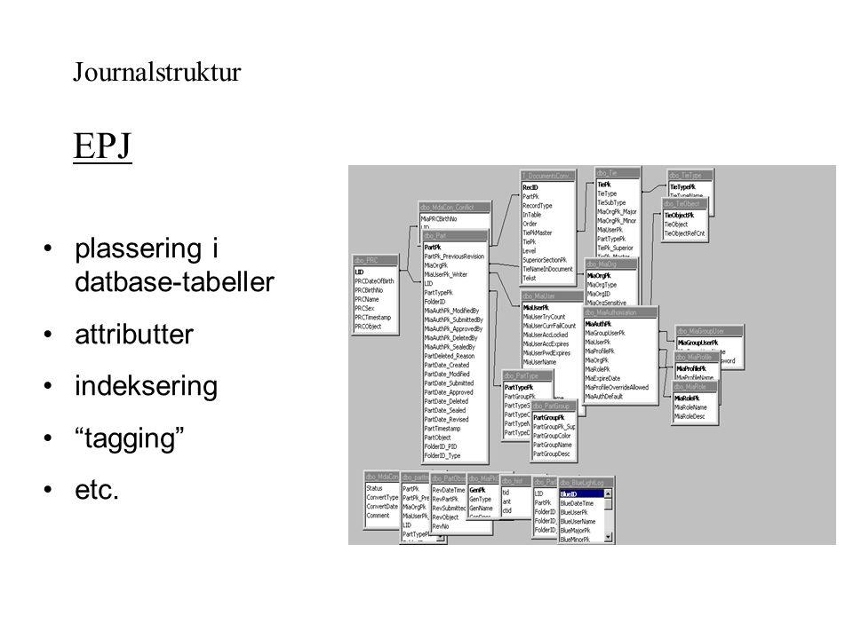 Journalstruktur EPJ plassering i datbase-tabeller attributter indeksering tagging etc.