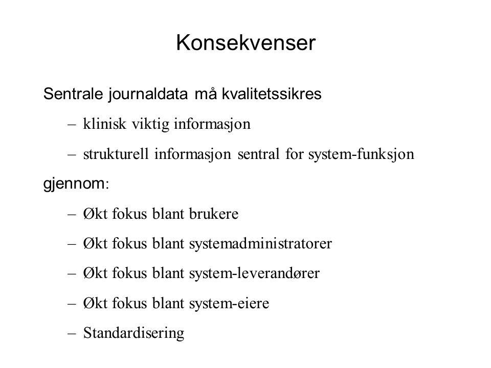 Konsekvenser Sentrale journaldata må kvalitetssikres