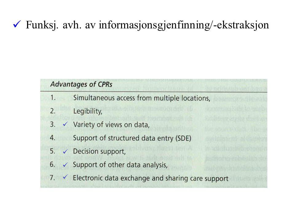 Funksj. avh. av informasjonsgjenfinning/-ekstraksjon