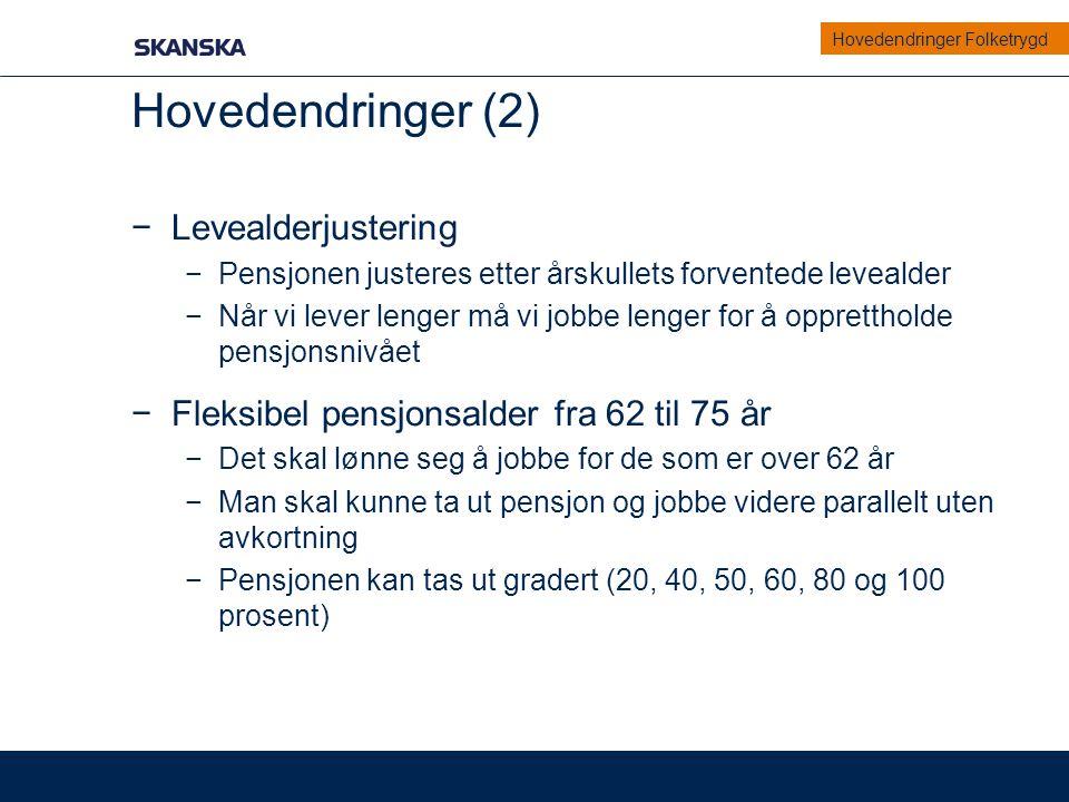 Hovedendringer (2) Levealderjustering
