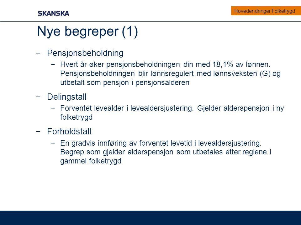 Nye begreper (1) Pensjonsbeholdning Delingstall Forholdstall