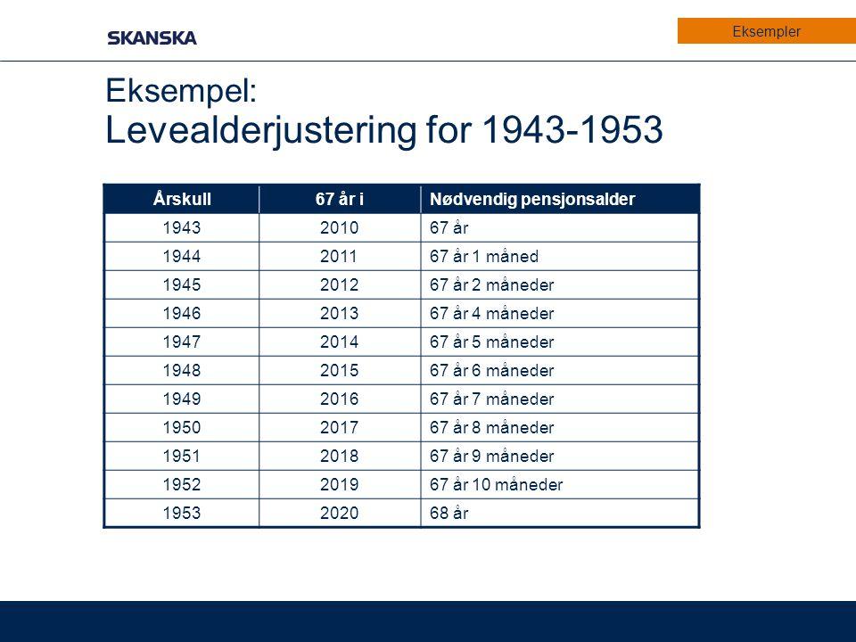 Eksempel: Levealderjustering for 1943-1953