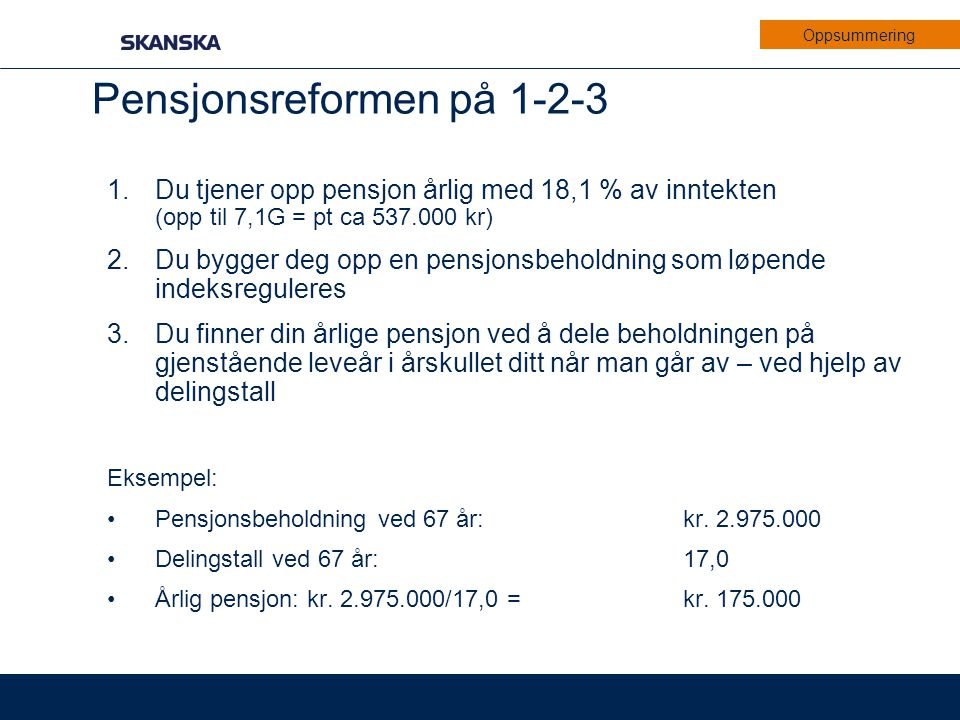 Pensjonsreformen på 1-2-3