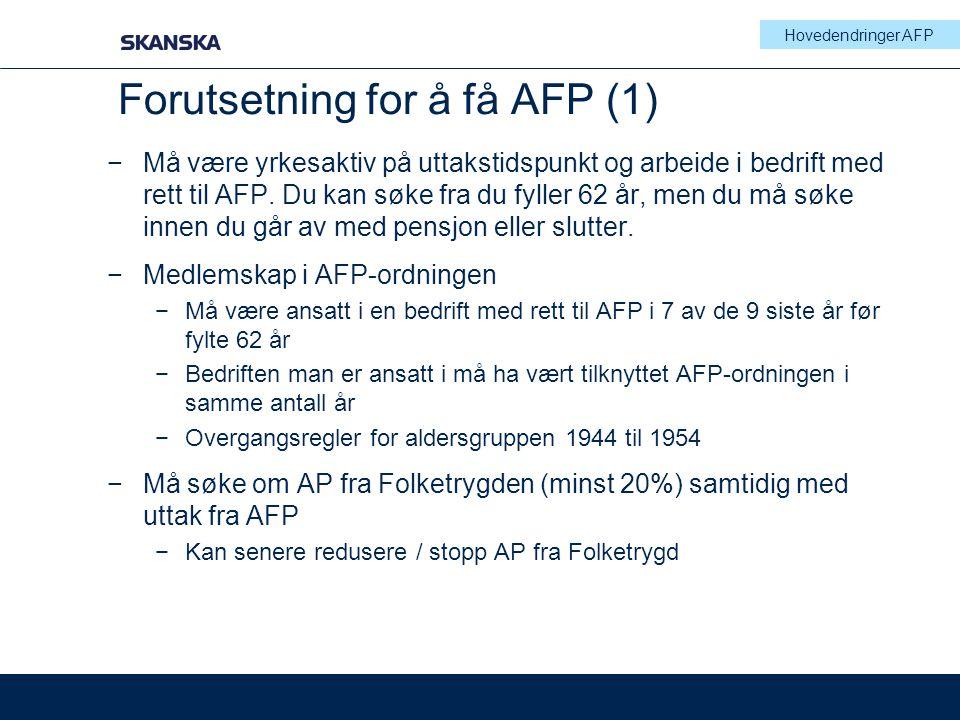 Forutsetning for å få AFP (1)