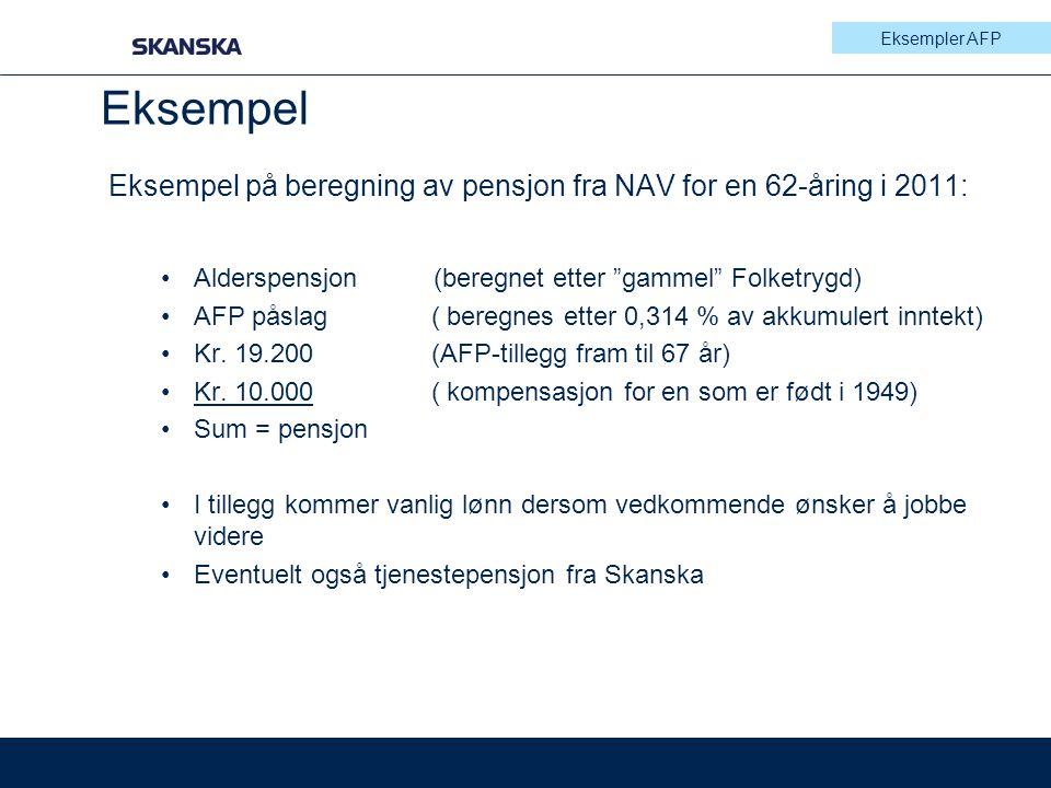 Eksempler AFP Eksempel. Eksempel på beregning av pensjon fra NAV for en 62-åring i 2011: