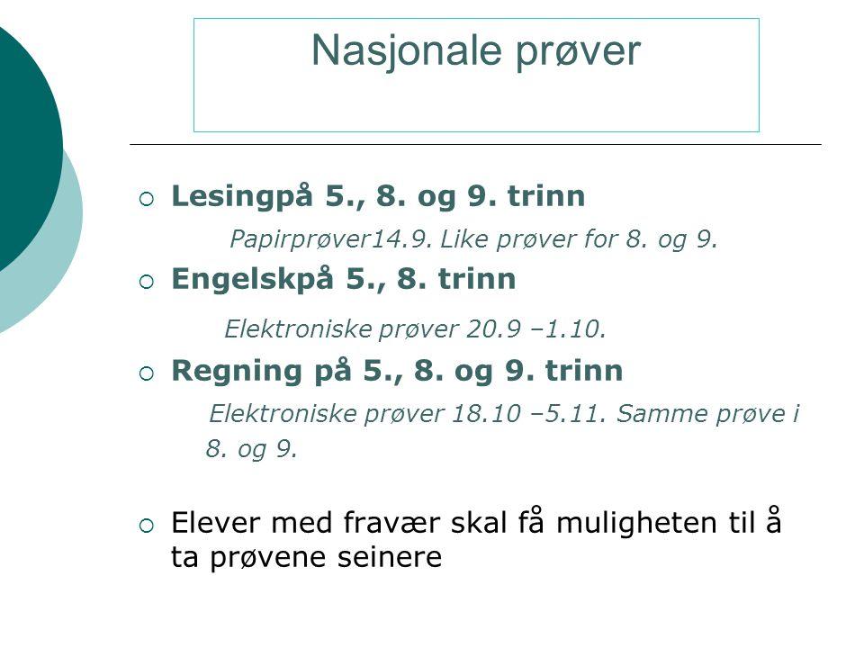 Nasjonale prøver Elektroniske prøver 20.9 –1.10.