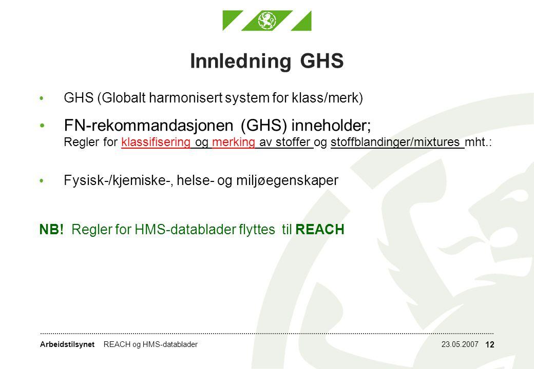 Innledning GHS GHS (Globalt harmonisert system for klass/merk)
