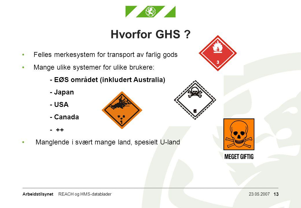 Hvorfor GHS Felles merkesystem for transport av farlig gods