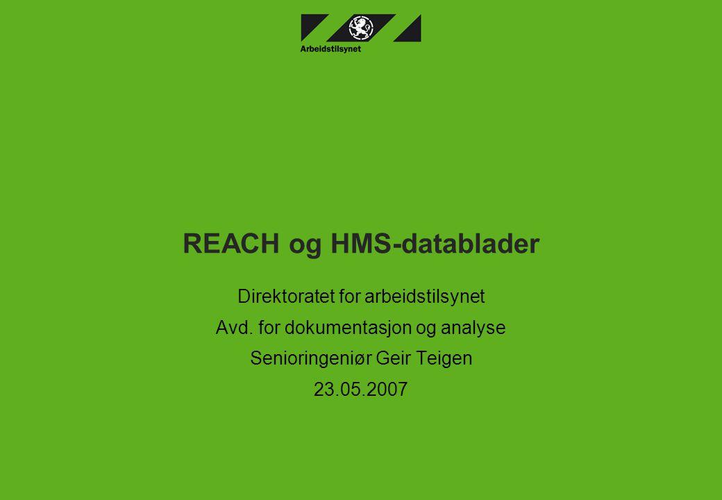 REACH og HMS-datablader