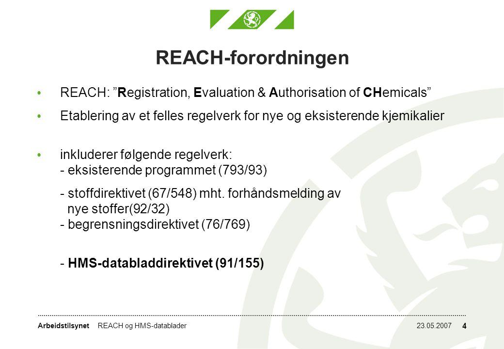REACH-forordningen REACH: Registration, Evaluation & Authorisation of CHemicals