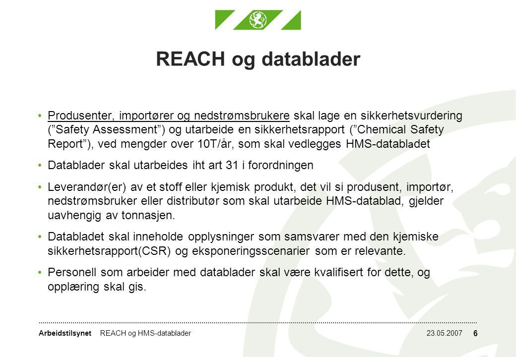 REACH og datablader