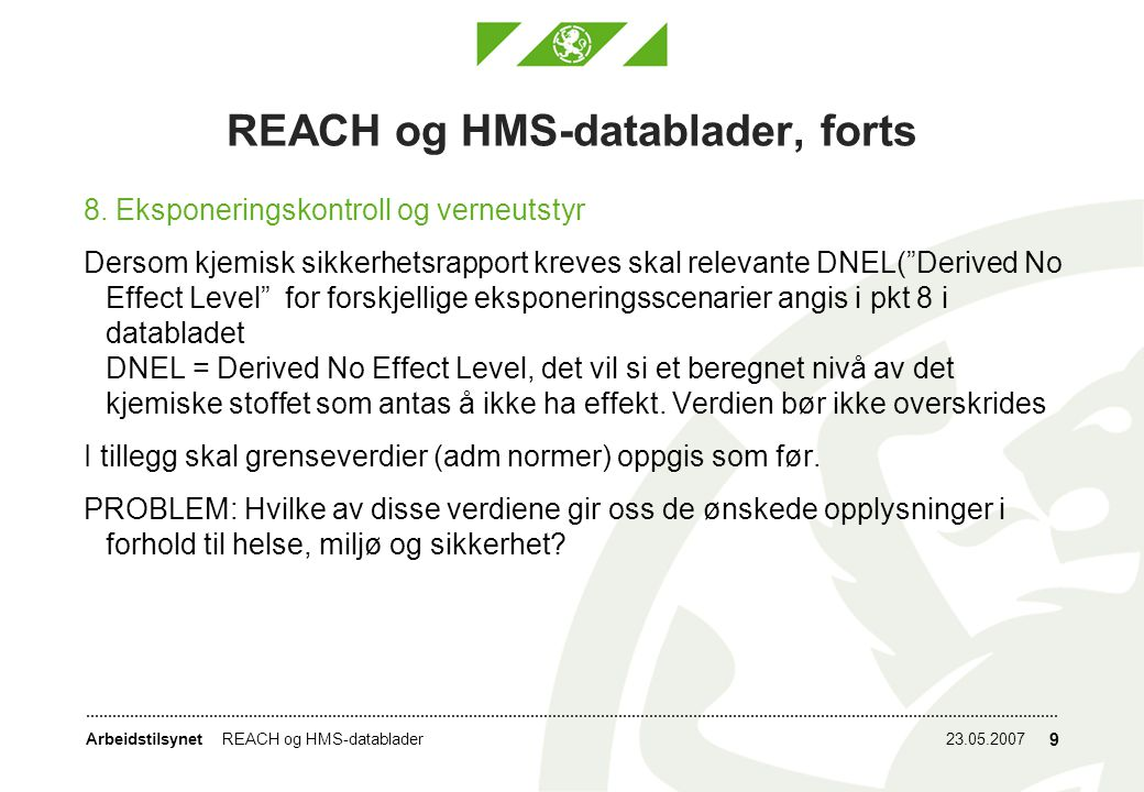 REACH og HMS-datablader, forts
