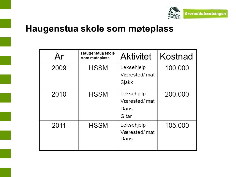 Haugenstua skole som møteplass År Aktivitet Kostnad