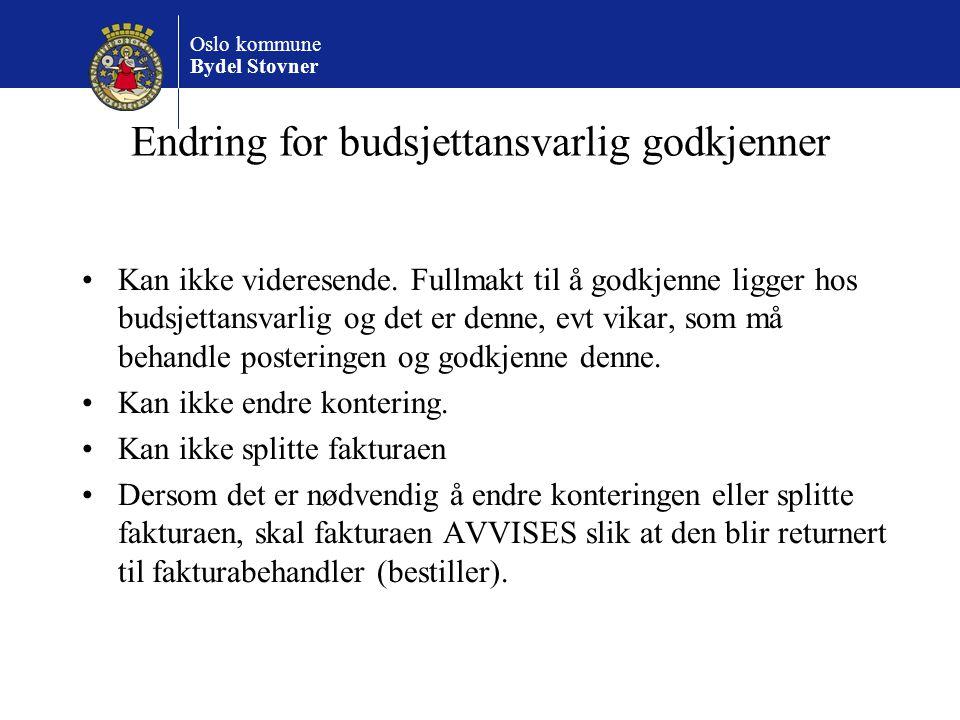 Endring for budsjettansvarlig godkjenner