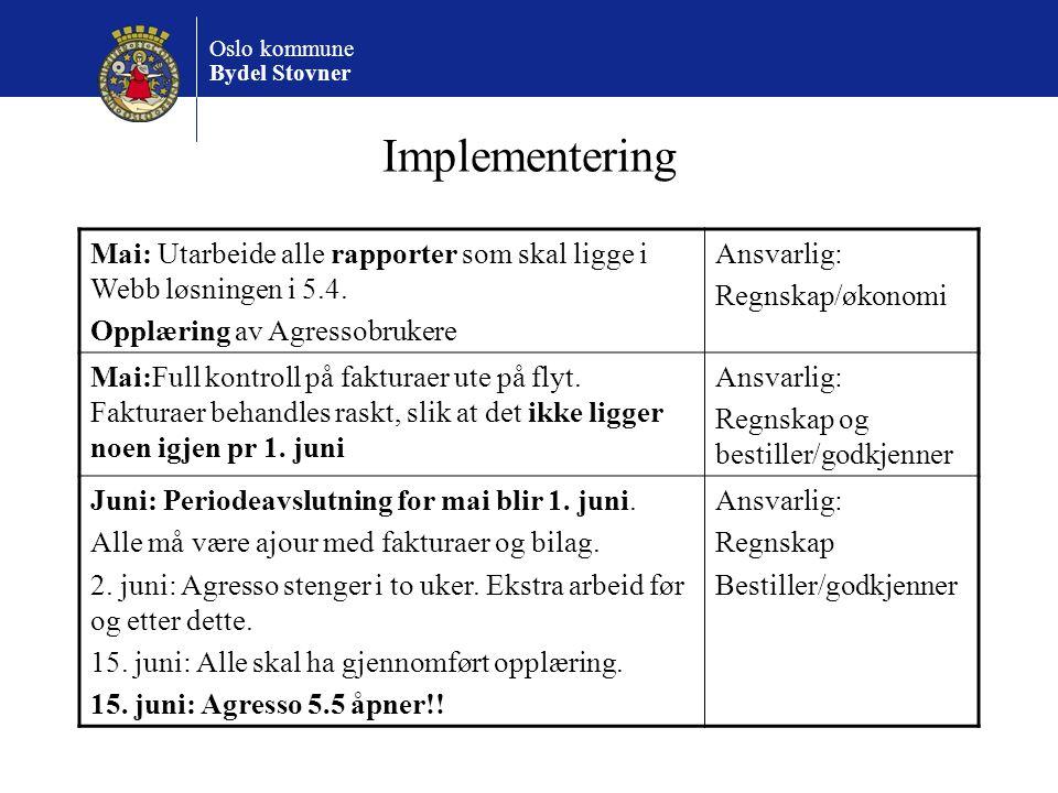 Implementering Mai: Utarbeide alle rapporter som skal ligge i Webb løsningen i 5.4. Opplæring av Agressobrukere.