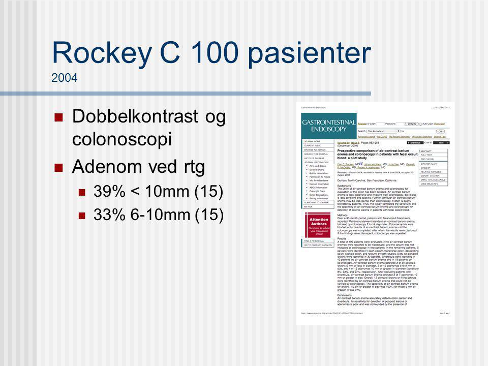 Rockey C 100 pasienter 2004 Dobbelkontrast og colonoscopi