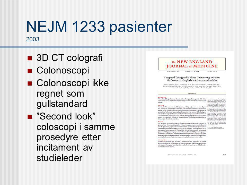 NEJM 1233 pasienter 2003 3D CT colografi Colonoscopi