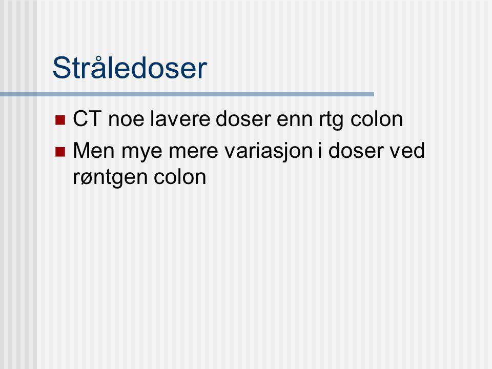 Stråledoser CT noe lavere doser enn rtg colon