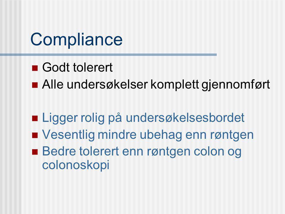 Compliance Godt tolerert Alle undersøkelser komplett gjennomført
