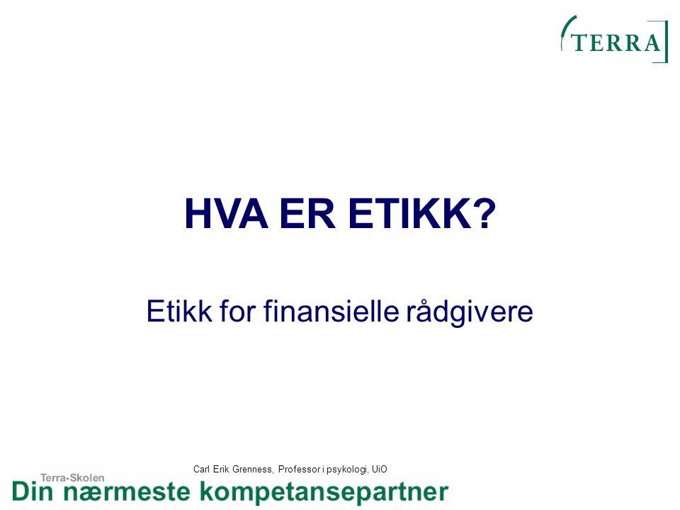 Etikk for finansielle rådgivere