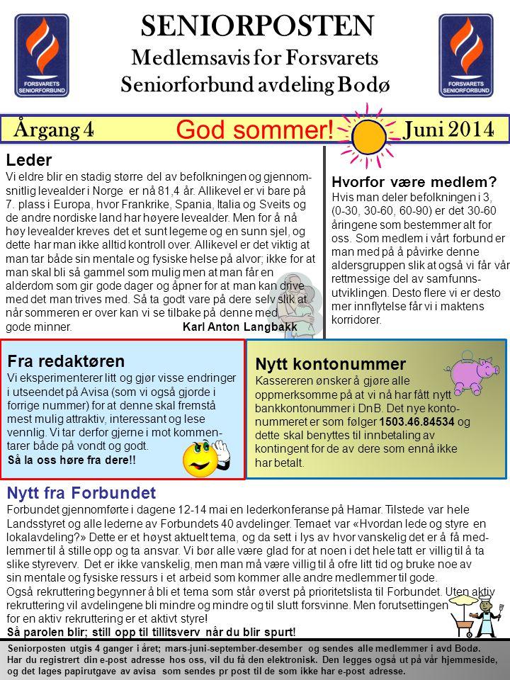 Medlemsavis for Forsvarets Seniorforbund avdeling Bodø