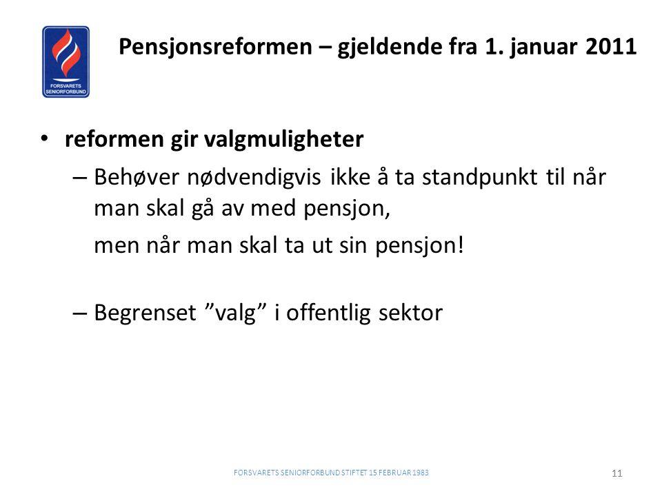 Pensjonsreformen – gjeldende fra 1. januar 2011