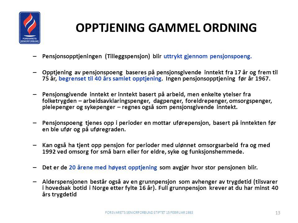 OPPTJENING GAMMEL ORDNING